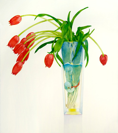 Red Tulips in a Tall Vase