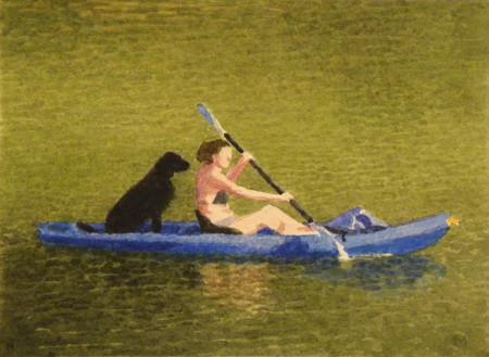 Black Dog in Blue Kayak