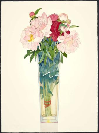 Peonies in Tall Vase