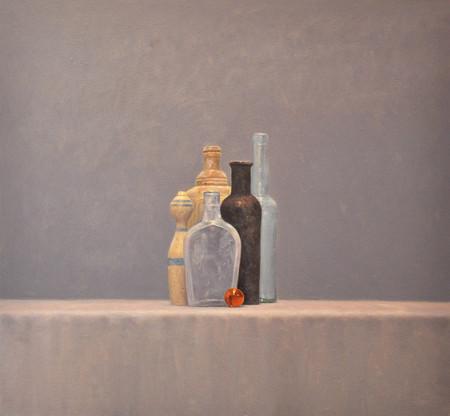 Still Life with Black Bottle