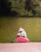 Woman and Red Kayak