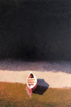 Red Canoe on Rocky Beach