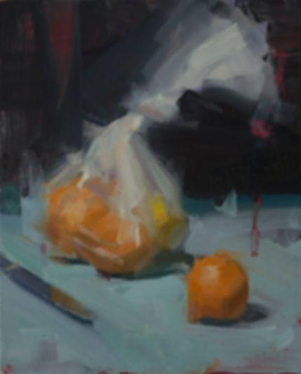 David Shevlino - Bag of Oranges, painting, ralism, still lif