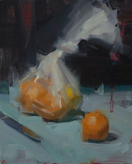David Shevlino - Bag of Oranges, painting, ralism, still lif