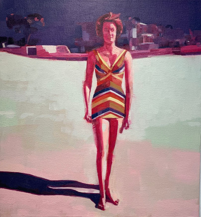 Woman in Striped Suit