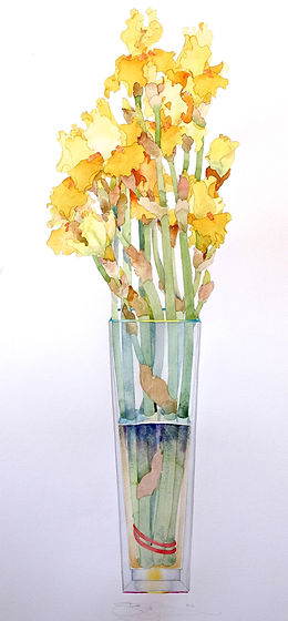Gary Bukovnik - watercolor - Yellow Iris in a Tall Vase
