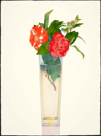 Red Camelias in Tall Vase