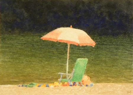 Pink Umbrella. Green Chair