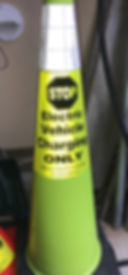 "36"" Lime colored cone with and EVcone label"
