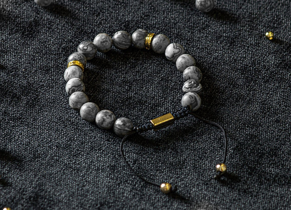 Jasper Grey Adjustable Bracelet