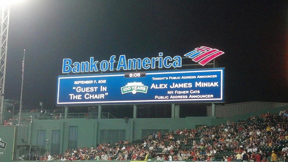 Alex Miniak Fenway Park Video Board Boston Red Sox Toronto Blue Jays 2012