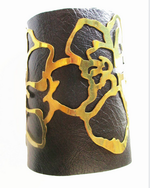 Leather & Brass Hibiscus Cuff