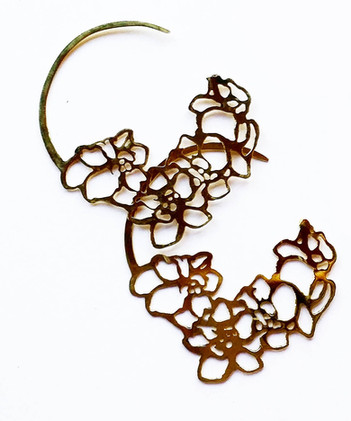 Floral Brass Hoops