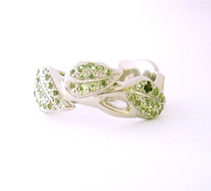 Peridot Amethyst in White Gold Vine Wedding Ring