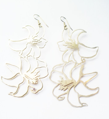 Brass Lily Earrings