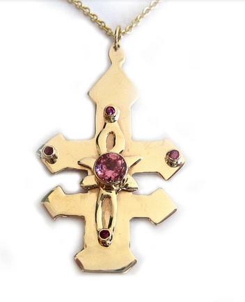 Gold Coptic Cross w/ Tourmalines &  Rubies