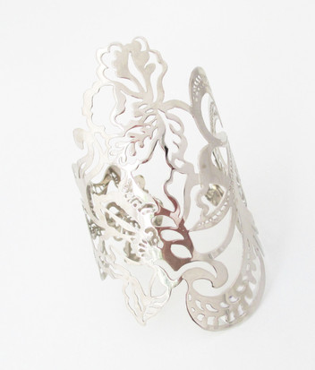 Silver Plated Dragon Flower Cuff