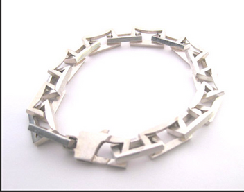 Sterling Silver Rectangle Link Bracelet
