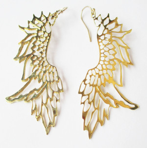 Brass Angle Wing Earrings