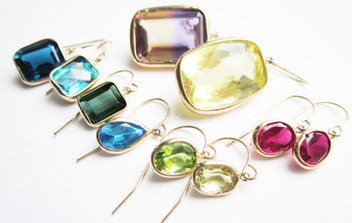 Gold Gem Drop Earring