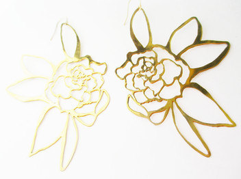 Gardenia Brass Earrings