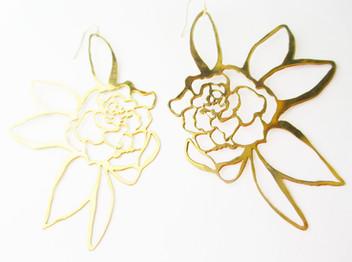 Gardenia Brass Earrings