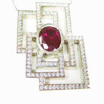 Platinum Diamond & Natural Ruby Necklace