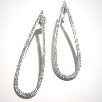 """3"""" White Gold Diamond Tear Drop"""