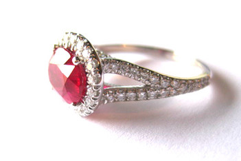 Natural Ruby White Gold & Diamond  Engagement Ring