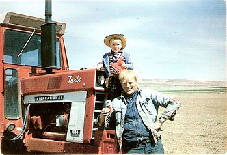 Josh & father John Lawrence on the farm in the early 1980s.