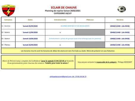 Calendrier de reprise catégories U6 à U13
