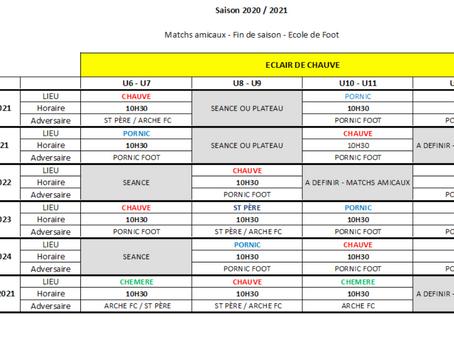 Programme fin de saison école de foot