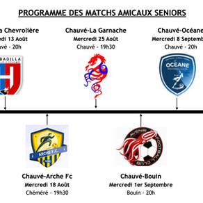 Programmes matchs amicaux seniors