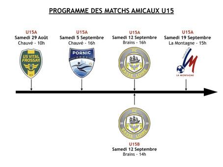 Programmes matchs amicaux U15 et U17