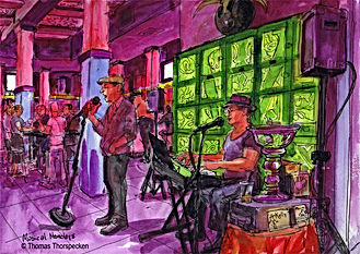 Artist painting of Kelly DeWayne Richards at Musical Mondays