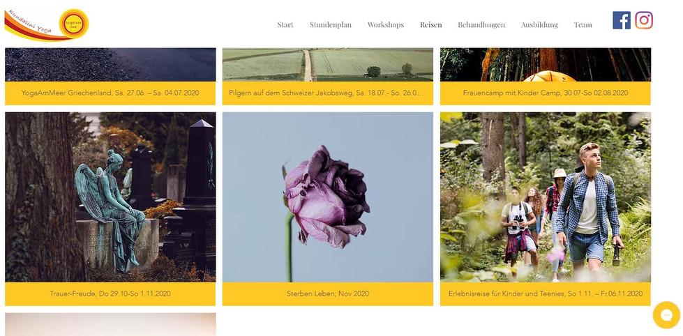 Website des Yoga-Studios