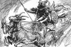 """Thor and Týr riding the Chariot. Tanngrisnir (Old Norse """"teeth-barer, snarler"""") and Tanngnjóstr (Old Norse """"teeth grinder"""") are the goats who pull the god Thor's chariot."""