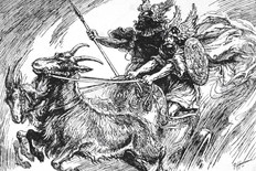 "Thor and Týr riding the Chariot. Tanngrisnir (Old Norse ""teeth-barer, snarler"") and Tanngnjóstr (Old Norse ""teeth grinder"") are the goats who pull the god Thor's chariot."