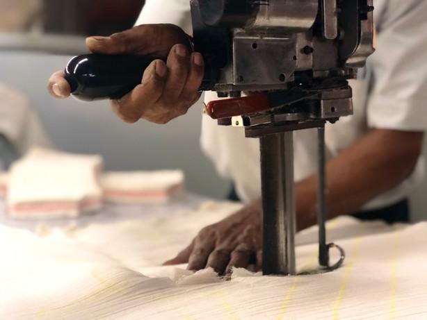 An expert hand at bulk cutting