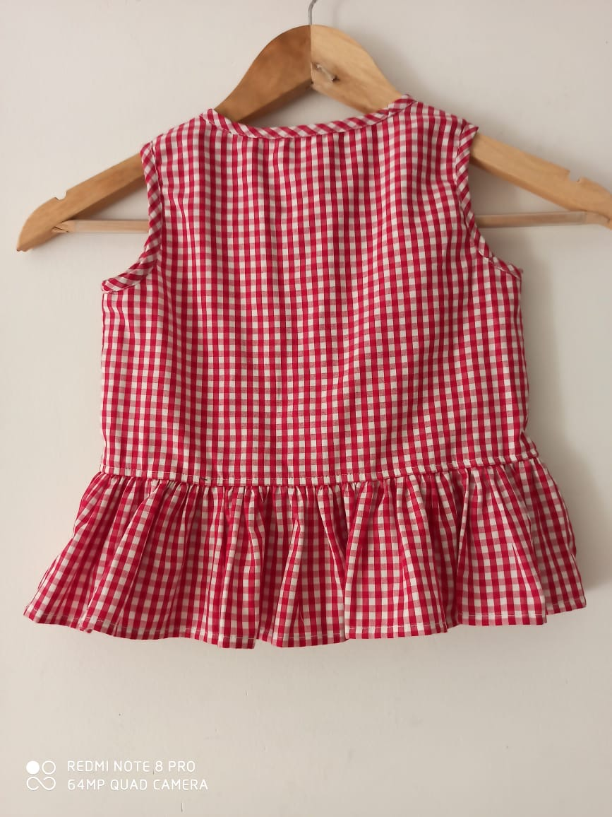 Kids Ruffle Check Top