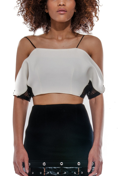 99c7bc9647c584 Spaggetti strap color-block crop-top with mesh detail under the arm. Center  back zipper closure. Made with neoprene. Choose this color option or  request an ...