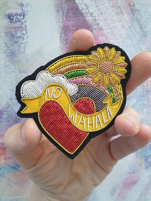No wahala hand embroidered zardozi badge rainbow heart, sun and cloud approx 8.5