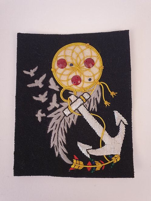 Dreamcatcher, Anchor and Feather Gold and Black Hand Embroidered Badge