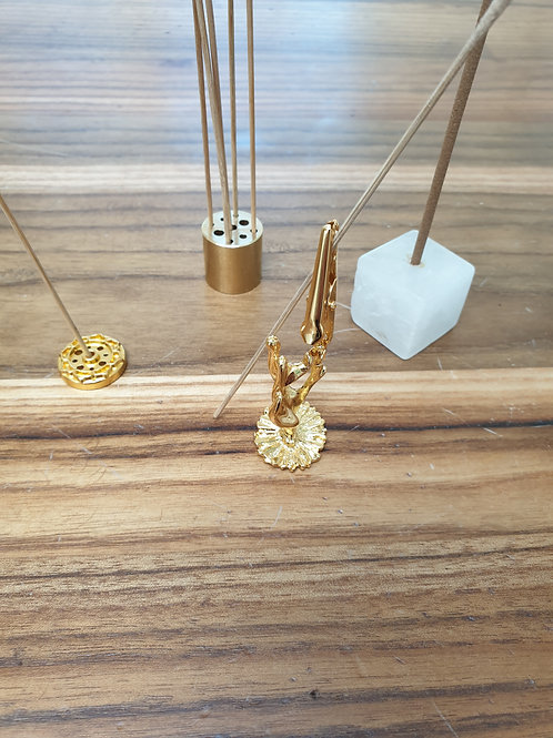 Brass incense holder and rock crystal, lotus, hand, brass cylinder rock crystal