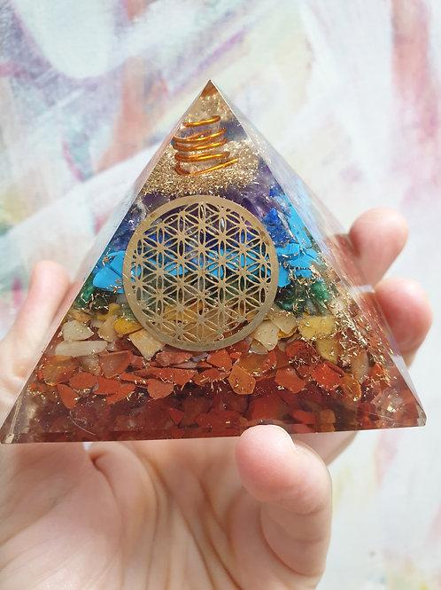 Sacred Geometry Fibonacci 7 Chakra 75 mm Orgona pyramid