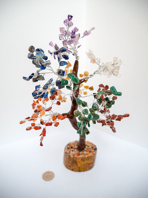 Rainbow Silver Gem Tree for Meditation Healing Chakra Balancing