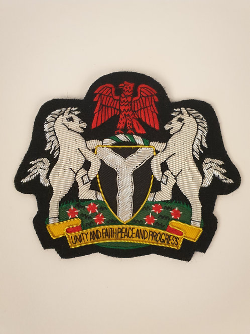Nigerian Coat of Arms Hand Embroidered Badge