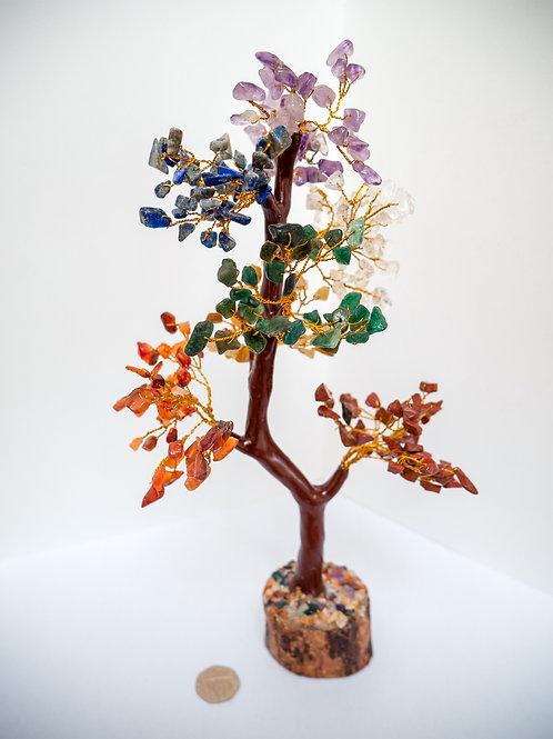 Reki Crystal Tree for Meditation Healing Chakra Balancing Gold Wire Multicolour