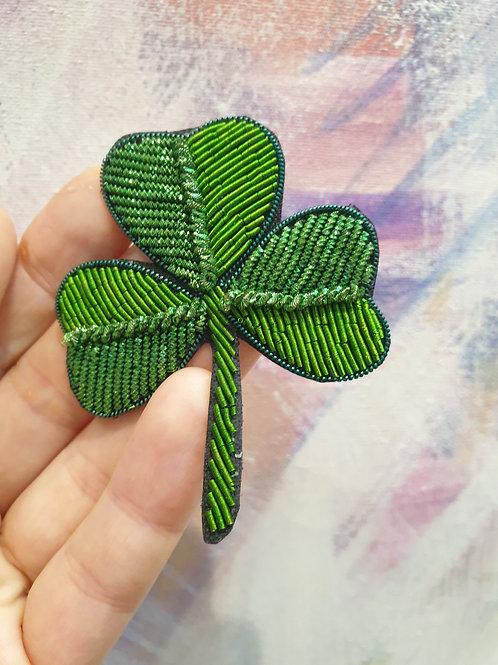 Luck of the Irish Shamrock Badge Hand Embroidered Fancy Badge