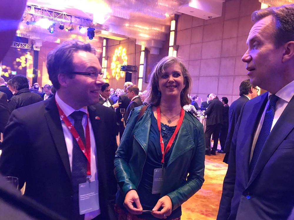 Norwegian Minister of Foreign Affairs, Mr Børge Brende (right), RBA Senior Advisor Gunelie Winum and Wikborg Rein Partner Christian James-Olsen